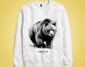 Sweatshirt gris: ours ERMITE (hermit, loner, recluse, wild, untamed, savage, lout) animal totem 2015 illustration