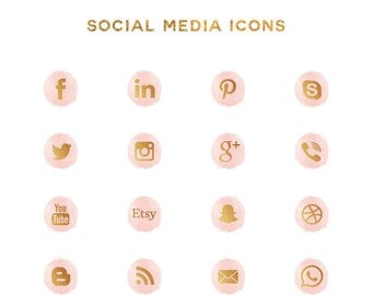 Social media icons - pink watercolor gold foil social media icon - for blog and website design - social media buttons