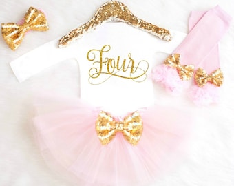 4th Birthday Outfit Girl Four Birthday Shirt Fourth Birthday Girl Four Birthday Dress Pink and Gold Birthday Outfit ANY AGE BB4