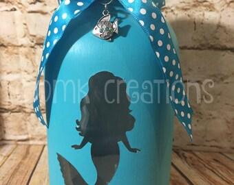 Mermaid Painted Mason Jar Tea Light Candle Holder, mermaid, painted mason jar, tea light candle holder, gift, lantern, ocean, mason jar