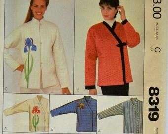 Uncut 1980s McCall's Vintage Sewing Pattern 8319, Size L; Misses' Jacket