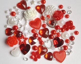 Love Hearts Mix embellishments cabachon  card making scrap booking  bling card making frames