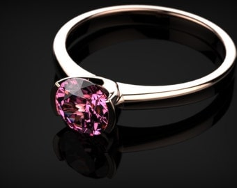 Rose Gold Pink Sapphire Engagement Ring Gold Pink Sapphire Ring Pink Gemstone Engagement Ring Pink Sapphire Ring October  Ring