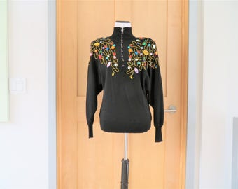 "Vintage ""Kenar by Ann Tjian"" Black Jeweled Top Size Small 1980s"