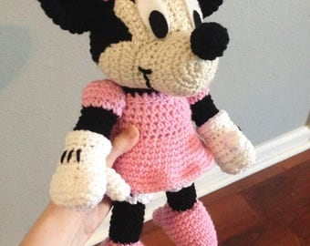 Crochet Minnie Mouse Doll : Minnie Mouse 10 inches PDF amigurumi crochet pattern