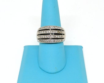 STYLISH!!! Sterling Silver Ring with 4 Rows of Cubic Zirconias! Size 8 1/2!!!