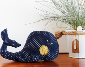 whale plushie - blue with white pois