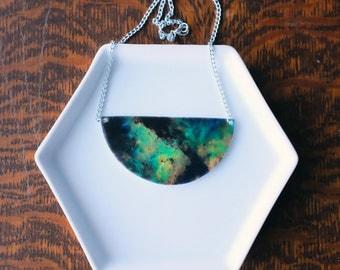 Shrink Plastic Space Galaxy Nebula Statement Necklace
