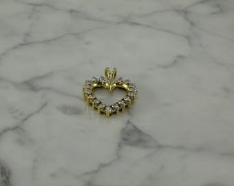 14K Yellow Gold / Diamond Heart Pendant