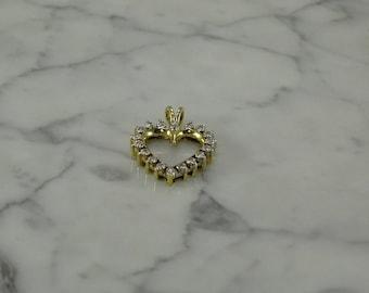 14K Yellow Gold / Diamond Heart Pendant