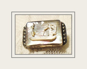 Antique Mother of Pearl Cameo, Cameo Brooch, 1920s MEXICO Carved MOP, Marcasite Accents, Roman Chariot Cameo, 1920s Small Cameo Brooch.