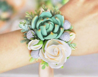 women flower jewelry Succulent corsage wedding corsage wrist bridal bouquet wedding accessories bridesmaids clay flowers, bracelets