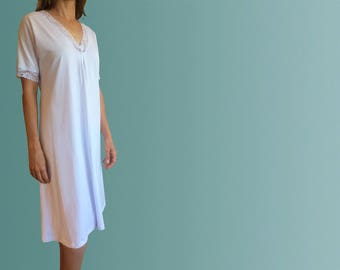 Hayman Winter Organic Cotton Nightgown with Lace - White
