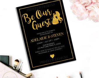 beauty and the beast invitation be our guest engagement invitation disney engagement party invitation - Beauty And The Beast Wedding Invitations
