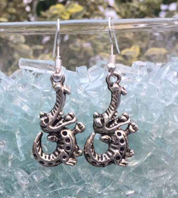 Florida Gators Antique Silver Earrings, a pair of smiling aligators