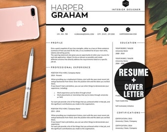 2 page resume template instant download professional resume template with cover letter cv template - Cover Letter Cv Example