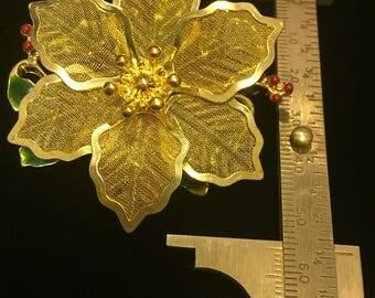 Huge vintage costume jewelry flower brooch