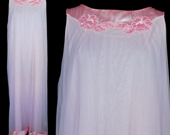 Vintage Nightgown, White Chiffon, Gossard Artemis Vintage Shift 1960s Pink Satin Trim, Size Medium