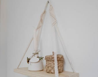 Wood and Macrame hanger shelf, wall hanging