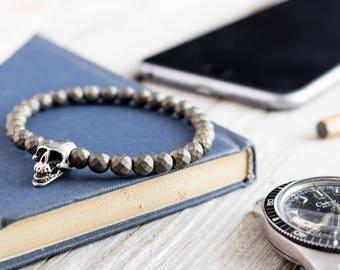 6mm - Bronze hematite beaded stretchy silver skull bracelet, custom made yoga bracelet, mens bracelet, tiger eye bracelet
