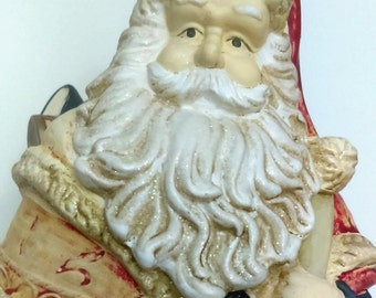 Distressed Santa Claus Planter Vintage 50's Ceramic Tall Figurine