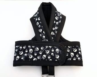 SKULLS Glow in the Dark Cat Harness Your Choice Border Color /Any Size/ Walking Butterfly Vest / Ultra Light / sphynx clothes & all breeds