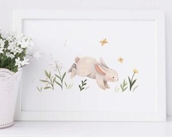 Petite Meadow Prints : Bunny. Animal inspired nursery giclee print illustrated by Nina Stajner