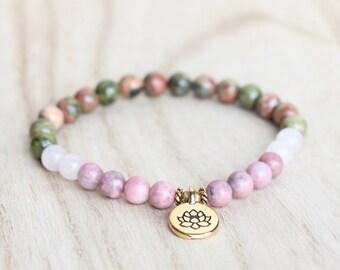 Emotional Healing Bracelet with Rhodonite, Rose Quartz, and Unakite. Self Love, Forgiveness. Pregnancy Bracelet, Hormone Balance Bracelet.