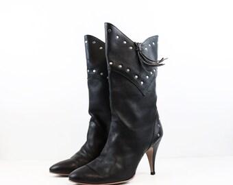 Vintage Black Leather Studded Western/Rocker Style Boots size 6