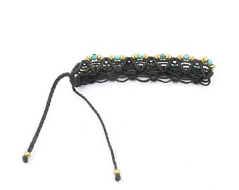 Turquoise Beaded Macrame Bracelet, Braided Bracelet, Friendship, Ethnic, Tribal, Boho, Bohemian, Gypsy, Beach, Festival Jewelry, Casual