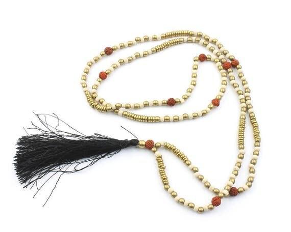 Brass Mala Necklace, Wooden Prayer Beads, Black Tassel Necklace, Meditation Jewelry, Yoga, Festival, Ethnic Necklace, Boho, Gypsy, Hippie