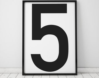 Number 5 Print,  5 Wall Art, Scandinavian Art, Scandinavian Poster, number 5 Poster, Number 5 Print, INSTANT DOWNLOAD