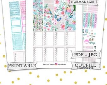 Spring Season Planner Stickers/Spring Happy Planner Stickers/Printable Planner Stickers/Watercolor Flower Spring Weekly kit/Pastel Stickers