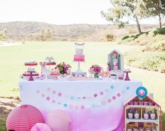 Pink Ombre Tablecloth - Pink Ombre LInen - Pink Party - Girl Birthday Party - Pink Table - Pink Ombre - Watercolor Birthday - Dip Dyed Linen