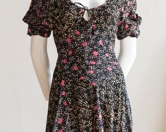 Summer Dress | Grunge Dress | Floral  Dress | Small  Flower Dress | Maxi Dress | 1990's dress | 90's dress | 1990' s Floral Dress | Sz M |