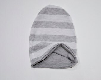Reversible Slouchy Beanie Heather Gray and White Stripe/Solid Gray, Toddler Beanie, Baby Hat,