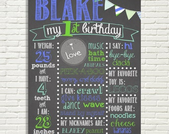 First Birthday Chalkboard Poster Sign 16x20 Banner Pendant Flag Blue Green or *Choose Your Own Color*  Digital File ONLY