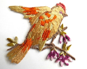 Bird Applique 1930s Vintage Embroidered Bird and Flowers applique. Vintage patch, sewing supply.  #6A7GB8KF