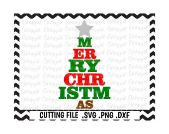 Merry Christmas Svg, Christmas Tree Svg-Dxf-Png-Pdf, Cutting Files for Silhouette Cameo/Cricut, Svg Download.