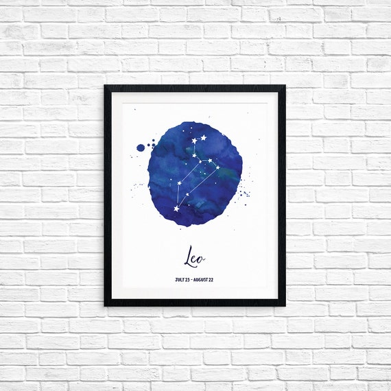 Printable Art, Leo, July 23 - August 22, Constellation, Zodiac Symbol Art, Art Printable, Home Decor, Digital Download Print
