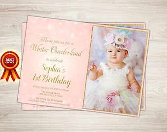 Winter Onederland First Birthday Invitation Girl 1st Birthday Invitation Pink and gold first birthday One, Snowflake printable photo invite