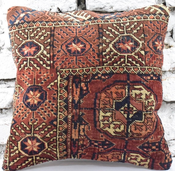 Oriental Vintage Look Antique Style Rug Pillow 18x18 45 Cm X