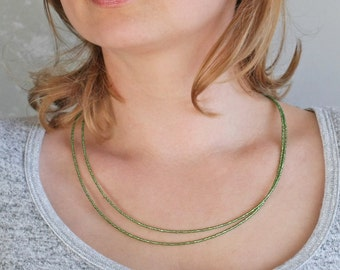 Green bead necklace, minimal necklace, modern necklace, tiny bead necklace, small bead necklace, long thin necklace, layer necklace, green