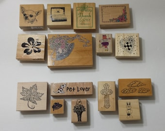 Lot of 15 Rubber Stamps - Various Companies and Themes