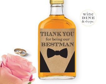 Whiskey Bottle Labels//Groomsman and Bestman Label//Thank You//Favor