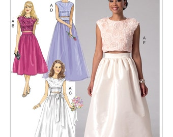 Sewing Pattern Misses' Crop Top and Gathered Skirts, McCall's Pattern 7355, Prom Dress, Special Occasion, Plus Sizes Available, Easy Sew