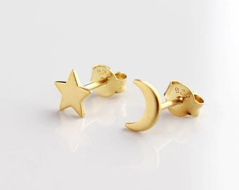 Gold Star & Moon Earrings, Star Earrings, Moon Earrings, Gold Stud Earrings, Dainty Earrings, Cute Earrings, Fashion Studs