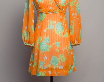 1960's Orange Vintage Dress With Ruffle Collar and Bow