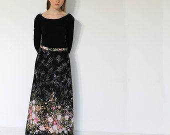 Maxi Skirt, Painted Flower print, Long skirt, Summer dress, Made in Denmark