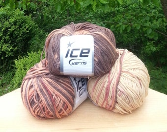 Knitting yarn. Lot of 3 Skeins Ice Yarns. Multicolored yarn. Beige Brown shadows. Acrylic yarn. Yarn for knitting. Vegan Friendly!